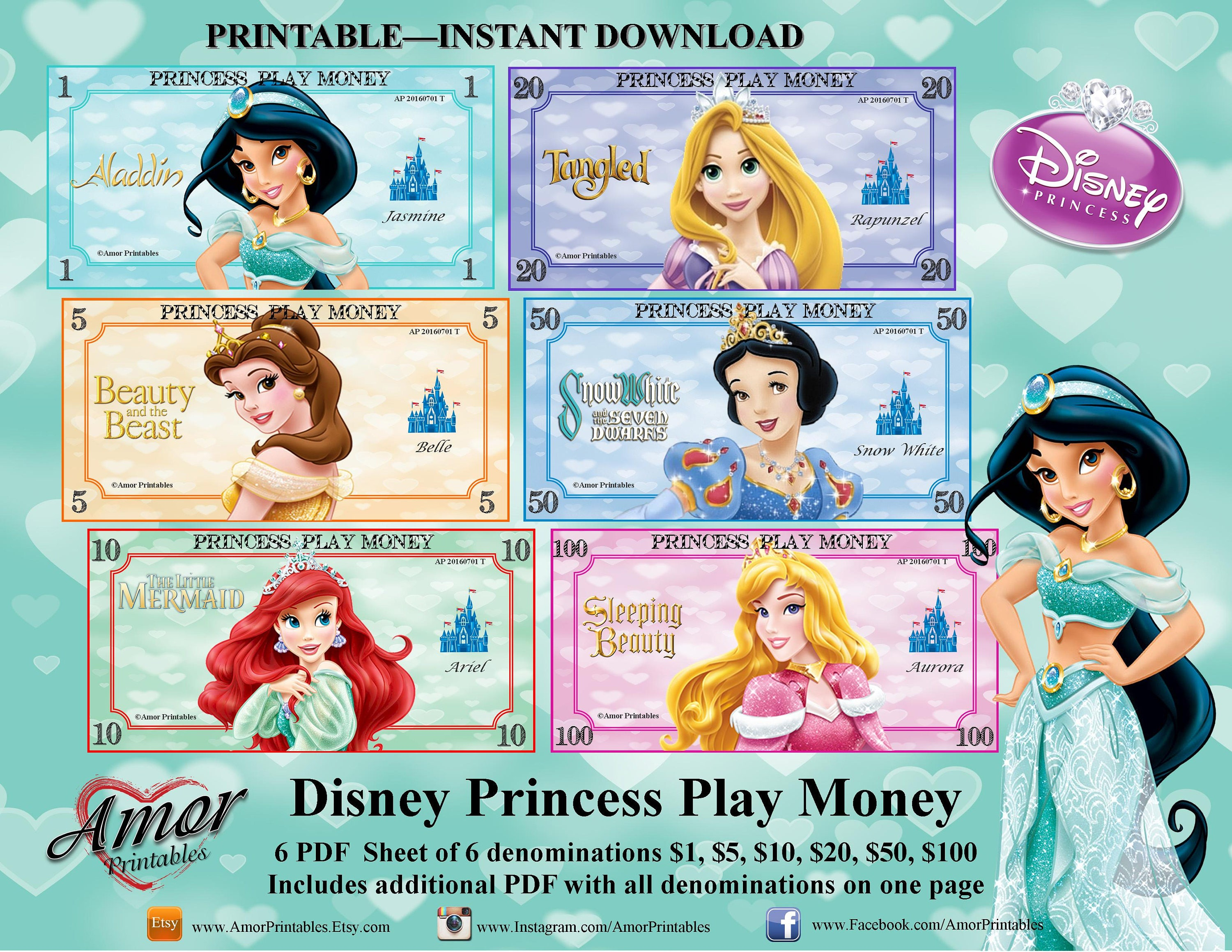Toy Money To Print Out : Disney princess play money party printables printable
