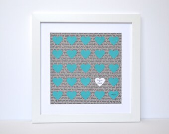 Teal and Gray Wedding Ideas- Framed Lyrics, First Dance Gift, Custom Wedding Vows, Wedding Date Gift, Paper Anniversary, Gift for Couples