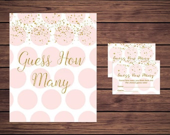 Guess How Many Game, Baby Shower Candy Guessing Game, Pink and Gold Candy Guessing Game, Polka Dots Instant Download   203 Printable