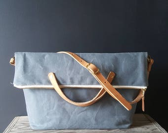 Waxed canvas foldover crossbody bag