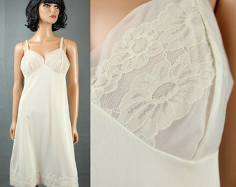 Vintage Vanity Fair Full Slip 36 Vintage Off White Cream Chiffon Lace Cups Sz M Free US Shipping