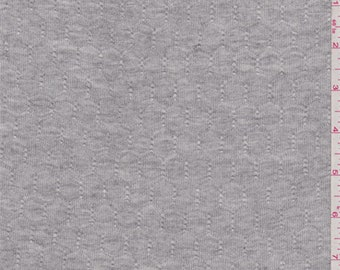 Heather Grey Geometric Pointelle Knit, Fabric By The Yard