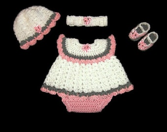 Baby Girl Dress Set Pink Layette Set Crochet Baby Dress Knit Baby Dress Crochet Infant Dress Newborn Dress Baby Shower Gift Preemie Clothing