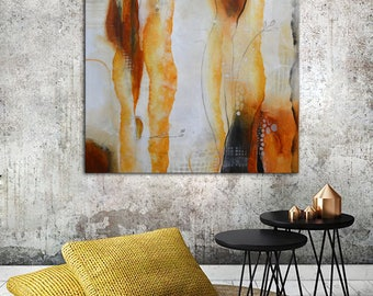 White Orange Abstract Painting, Large neutral colors Painting, Original Painting, square painting , white minimalist art, original abstract