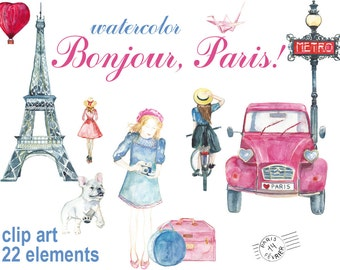 Digital 22 Watercolor Bonjour Paris clip art,  effel, travel Digital Collage, Valentines Day love clipart, Instant Download, clip 65