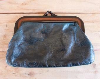 1980s Italian kid leather clutch purse
