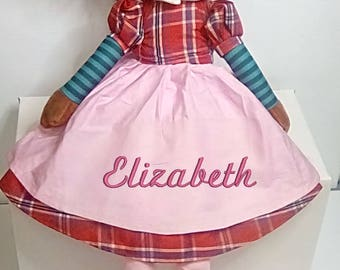Cubbies Brunette Rag Doll Personalized & Embroidered Monogrammed Gift