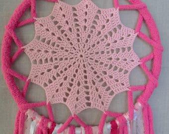 Pink & White Snowflake Crochet Dreamcatcher, Boho, Bohemian, Lace, Dream Catcher, Wall Decor, Ribbon, Baby Girl, Baby Shower, Gift, Nursery