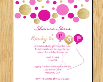 Baby shower invite Pink and Gold Ready to Pop Baby Shower Invitation Bridal shower invite