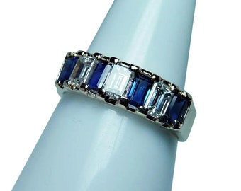Vintage 18K Gold Sapphire Large Baguette Diamond Ring Band Estate