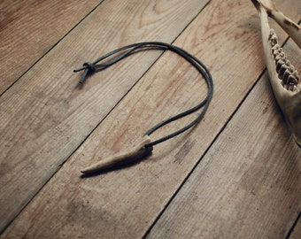 """gathered : Smooth Antler Tip Necklace on 20"""" cord"""