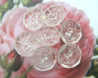 6 Vintage antique glass buttons flower design 19mm