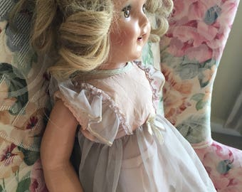"""IDEAL Lovely 22""""  Composition Rare Doll All Original with Original Outfit 1940's Very Good Overall Condition"""