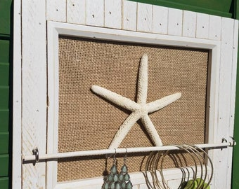 Picture Frame Jewelry Organizer - Starfish Jewelry Holder - Beach Themed Jewelry Holder