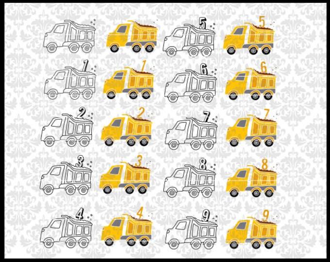 CLN0724 Bundle Dump Truck Boy Birthday Construction One Two SVG DXF Ai Eps PNG Vector Instant Download Commercial Cut File Cricut Silhouette