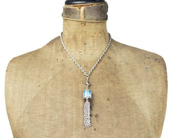 Chunky Chain Necklace Long Silver Tassel, Silver Tassel Necklace, Blue Tassel Necklace, Silver and Blue Tassel Necklace, Long Silver Chain