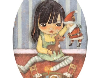 Girl nursery decor/girls room decor/ wall decor/girls room wall art/art for girls. Print 'Playing Christmas' {by Maria Mola}