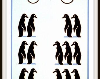 """WPA POSTER: """"6 and 8 Penguins"""" 1930s Giclee Print - Elementary School Art - Teacher Art - Math Wall Art - Childs Room Decor"""