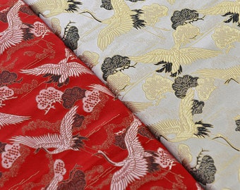 Vintage Crane Fabric, Silk Fabric Cloth Bird Crane Pattern Fabric for Clothing, Dress, Bag Purse, Wallet (JJ1015)