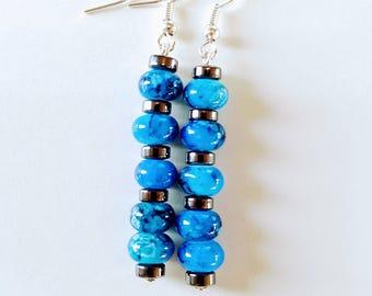 Blue Glass Earrings, Hematite Earrings, Navy Blue, Easter Egg Marbled.  Item # E045