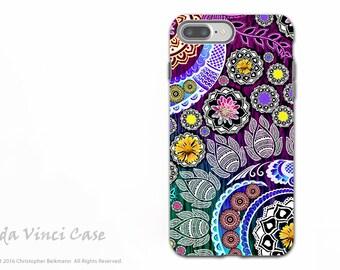 Indian Paisley iPhone 7 PLUS - 8 PLUS Tough Case - Dual Layer Protection - Colorful Floral Apple iPhone 8 PLUS Case - Mehndi Garden