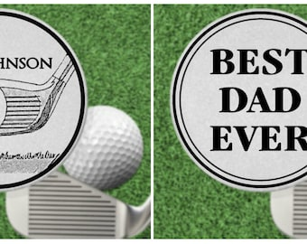 Best Dad EVER! Golf Ball Marker Gift, Stainless Steel, Personalized FREE! for Golfer, Fathers Day, 2 sided