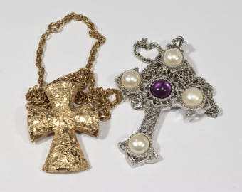 Two vintage cross silver gold Sara Coventry