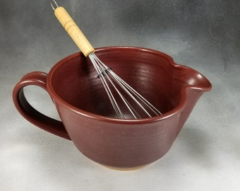 Batter Bowl Medium Rust Red Ceramic Batter Bowl With Whisk Wheel Thrown Stoneware Pottery Mixing Bowl 7