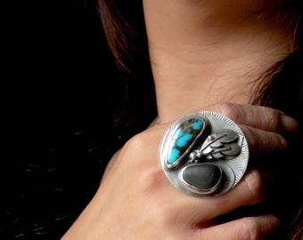 Sterling, Kingman Turquoise and River Rock Ring - Holy Trinity