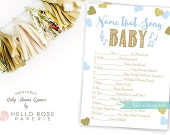 Name That Song Baby . Blue and Gold Baby Shower Game . Boy Baby Shower Printable . Printable Game . Instant Download . Baby Boy Shower