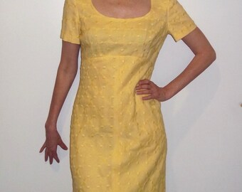 """SALE Jane Andre Maxi Gown Embroidered Fabric Yellow 60's Gown sz. S, Chest 33'-35"""" Great condition empire waist,short sleeve"""