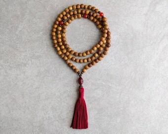 Robles Wood Mala with Carnelian - Creativity & Individuality - Mala Bead Necklace - Item # 997