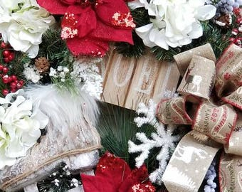 Christmas wreaths holiday wreaths winter wreaths Christmas decorations rustic wreaths rustic decorations Christmas door wreaths poinsettias