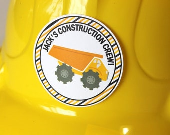 Construction birthday party, 12 hard hats with 12 personalized stickers - birthday party, dump truck party, baby shower, boy birthday party