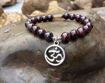 Garnet Bracelet, Mala Bracelet, Yoga Bracelet, Healing Mala, Love and Relationships Gemstone , OM Pendant Bracelet.