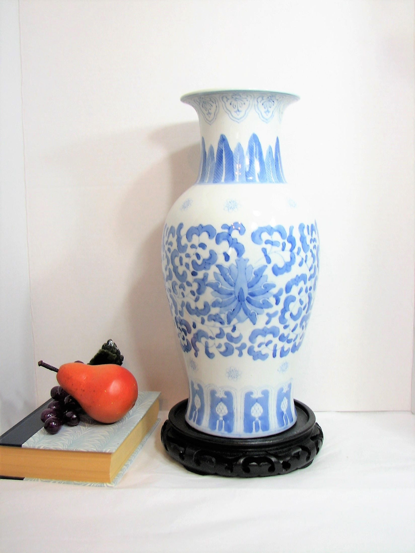 Large blue white porcelain vase chinoiserie 14 tall zoom reviewsmspy