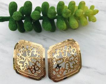 Gold Filigree Earrings. Vintage Statement Earrings.
