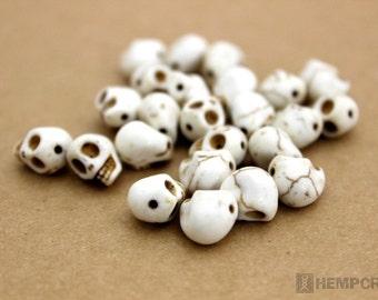 Skull Beads, White Day of the Dead Stone Beads, Halloween Beads, Full Strand 40pc, Tiny 9x8mm