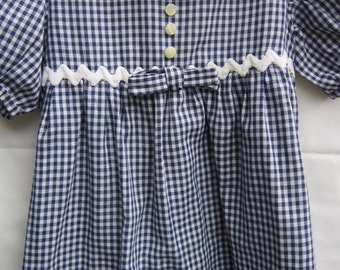 Vintage Toddler Girl's Dress Blue Gingham With White Eyelet And Rickrack 18 mos. to 2 or 2T?Trim