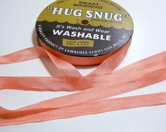 Peach Seam Binding, Peach Orange Seam Binding 1/2 inch wide x 100 yards, Hug Snug