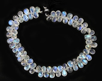Rainbow Moonstone Micro Faceted Pear Briolettes 4 Semi Translucent White Rainbow Flash Blue Semi Precious Gemstone
