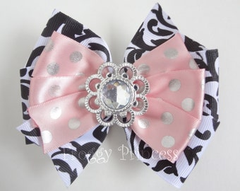 Glamour Bow - Black and Pink Double Pinwheel - No Slip Velvet Grip Hair Clip