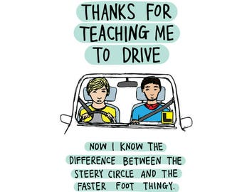Thank You Card - Thanks for teaching me to drive