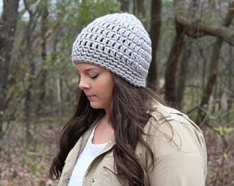 Crochet Hat, Crochet Beanie, Grey Beanie, Grey Hat, Grey Winter Hat, Chunky Beanie, Women's Hat, Chunky Hat, Skull Cap, Grey Hat, THE SENECA