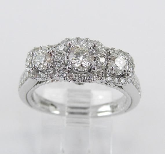 14K White Gold 1.02 ct Three Stone Past Present Future Diamond Engagement Ring Size 6.5
