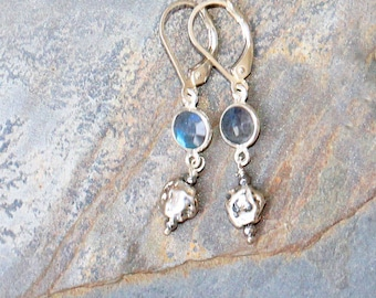 Labradorite Earrings, Natural Stone Earrings, Labradorite Jewelry, Gemstone Earrings, Sterling Silver Earrings, Gray Earrings, For Her