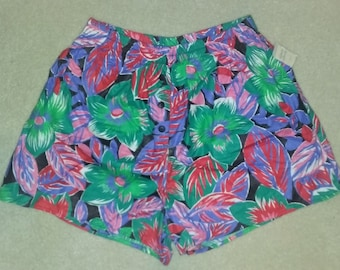 Vintage Deadstock Byer California Bright Floral Print Shorts Large