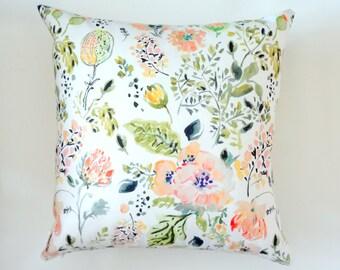 Botanical Mix Watercolor Pillow Cover, Watercolor Flowers Pillow Cover, Designer Fabric Pillow Cover, Various Sizes
