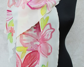 Silk scarf, hand painted silk scarf, pink flowers, floral scarf, silk scarves, mother's day gift, mom gift