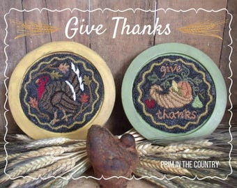 Give Thanks Punch Needle Pattern